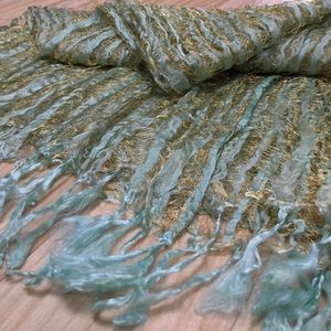 Accessories - Mint and Gold Beach Inspired Gauze Scarf