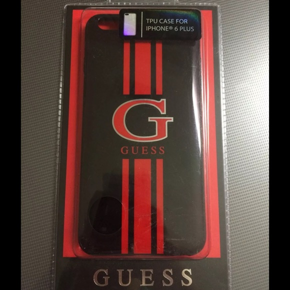 finest selection 6c5b1 4c05c Guess Red & Black TPU iPhone 6 Plus Case Cover