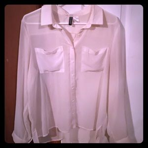 Off white sheer button down