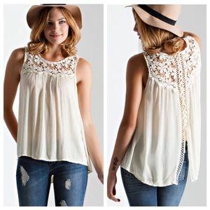 🆕Cream Crochet Flower Lace Up Blouse