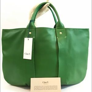 Clare Vivier Handbags - NWT! Clare V. La Tropezienne Green Leather Bag