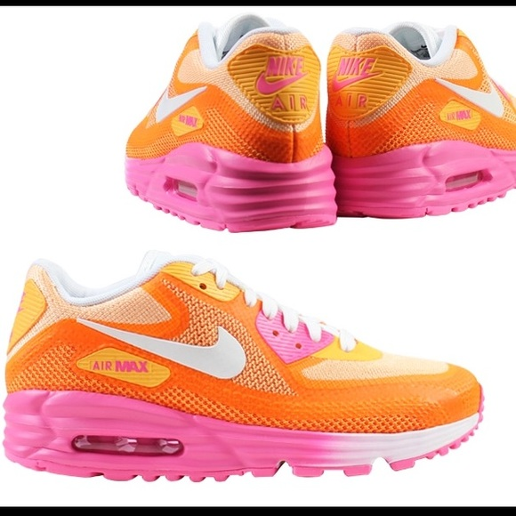 Hot pink and orange Nike air max lunar 90