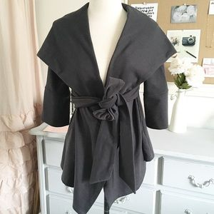 Charcoal Gray Hooded Draped Cardigan
