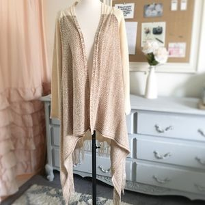 Oatmeal Fringed Duster Open Cardigan