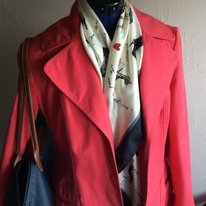 Jackets & Blazers - HP! Coral trench coat with polka dot lining