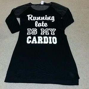 Krush Tops - Running late is my cardio shirt sz medium tunic