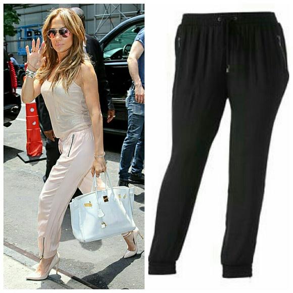 c95b20022101 Jennifer Lopez Pants - 🆕 Jennifer Lopez Chic Black Jogger Pants NWOT