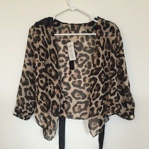 Leopard chiffon sheer top