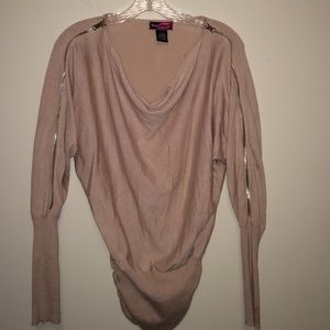Beige Zipper Fashion Sweater ( Size Small)