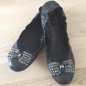 Studded -all genuine leather- ballet flats