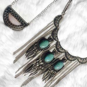 Core Jewelry - Boho Silver & Turquoise Feather Chain Necklace