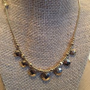 Gold Faceted Disc Necklace