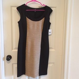 Dresses & Skirts - Black dress with flattering tan bodice