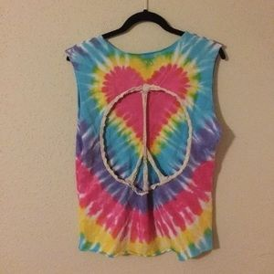 Furst of a Kind | tie dye peace cut out top