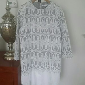 English Factory White & Grey Dress