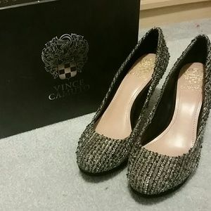 Vince Camuto Shoes - Black and Silver Tweed Vince Camuto Zella Shoe