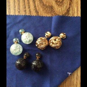"3 pairs of gorgeous ""crackle"" looking earrings !!"
