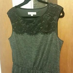 LOFT Dresses - Gray Knit Lace Embellished Dress