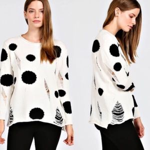 SHANIE polka dot cutout sweater - CREAM