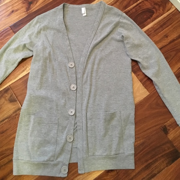 50% off American Apparel Sweaters - Light Grey Button Down ...
