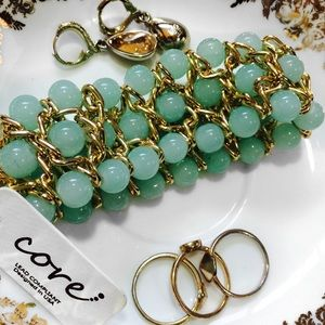 Core Jewelry - Gold Chain and Teal Beaded Bracelet