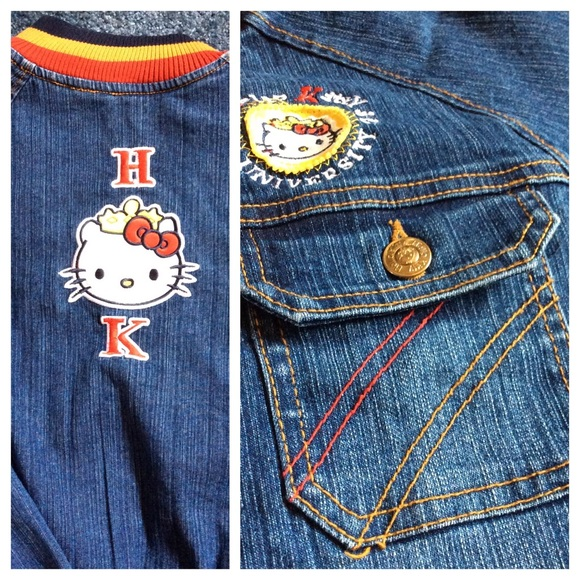976ce009c Hello Kitty Denim Bomber Jacket Women's Small. M_579eb186bcd4a74f4509ff74