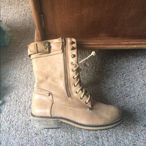 Shoes - Light beige leather combat boots
