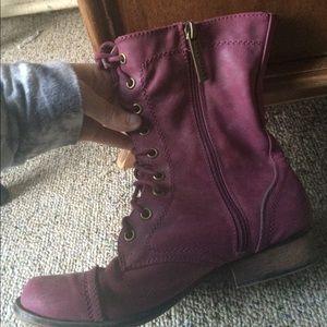 Breckelles Shoes - Burgundy Combat Boots