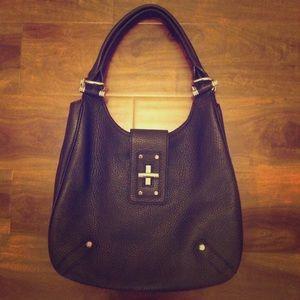 Black pebbled leather purse