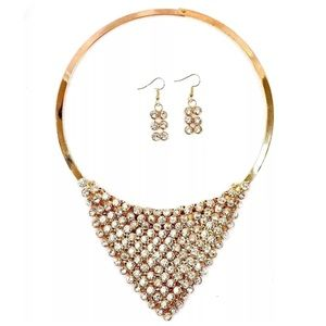 Boutique Jewelry - D36 Gold Austrian Crystal Draping Necklace
