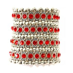 ED10 4 Row Wide Silver Red Crystal Beaded Bracelet