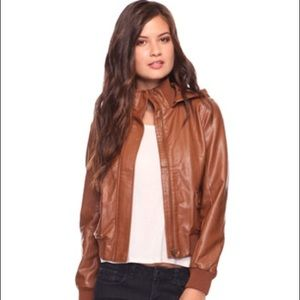 Brown leather jacket from forever 21