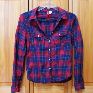 54 off h m tops plaid red white and blue shirt from for Red white and blue plaid shirt