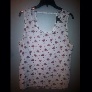 Tops - Floral pattern high/low blouse