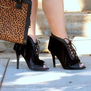 N.Y.L.A. Shoes - Heeled Black Fringe Booties!