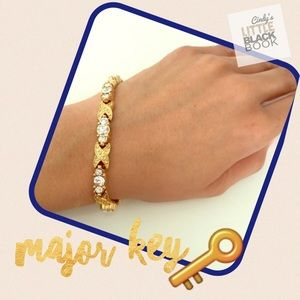 Gold & Rhinestone Tennis Bracelet 
