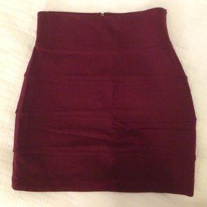 Aritzia Talula deep wine bandage skirt