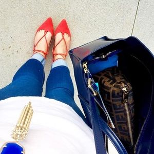 Red TopShop Lace Up Flats!