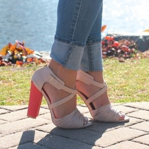 Shoes - Coral + Nude Block Sandals!