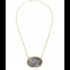 Gorgeous Agate & Diamond Halo 18 KT Gold Necklace