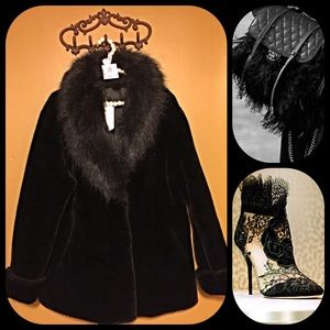 Jackets & Blazers - Paris glamorous velvet faux fur coat and collar