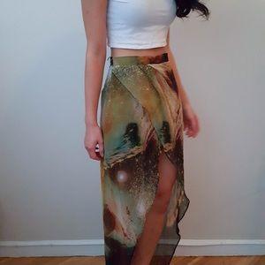 High-low Galaxy wrap skirt