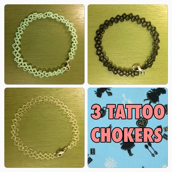 Jewelry - 3 TATTOO CHOKERS LOT BUNDLE MINT BLACK CLEAR
