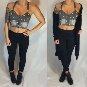 Nollie Gray Denim Star Print Crop Top