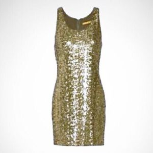 Alice & Olivia New Years Eve Gold Sequined Dress