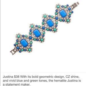 Kitsy Lane Jewelry - Blue and Green Stone Statement Bracelet