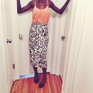 African Aztec Tribal Wrap Midi Pencil Skirt