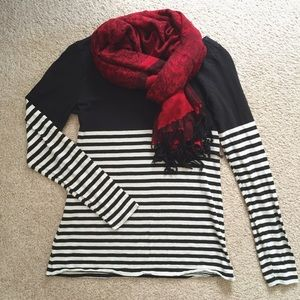 Loft Striped Black and White Long Sleeve Tee