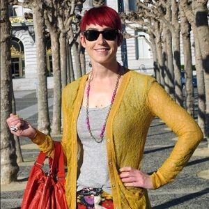 Rodarte for Target Sweaters - Rodarte for Target mustard lace cardigan