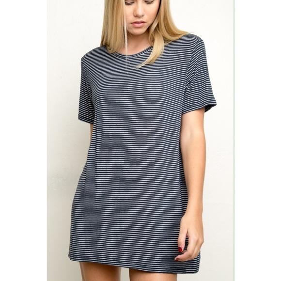 a855e825bd Brandy Melville Dresses & Skirts - Brandy Melville Blue Striped Luana Tee  Shirt Dress